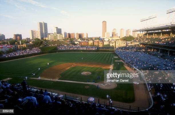 A wide shot of Wrigley Field during the game against the Cincinnati Reds at Wrigley Field in Chicago Illinois The Cubs defeated the Reds 54