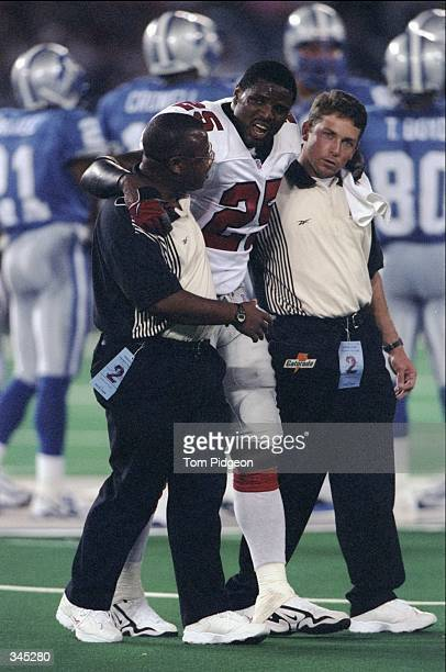 Atlanta Falcon Devin Bush heads to the sidelines during the game against the Detroit Lions at the Pontiac Silverdome in Pontiac Michigan The Falcons...