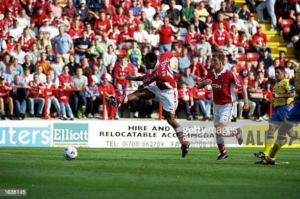 Clive Mendonca of Charlton Athletic scores during the FA Carling Premiership game against Southampton at The Valley London Mendonca scored a hattrick...