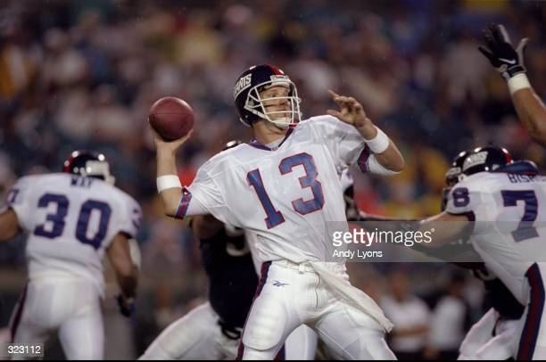 Danny Kanell of the New York Giants prepares to throw a pass during a preseason game against the Jacksonville Jaguars at the Alltel Stadium in...