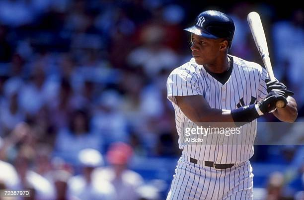 Darryl Strawberry of the New York Yankees stands ready to swing during a game against the Minnesota Twins at Yankee Stadium in Bronx New York The...