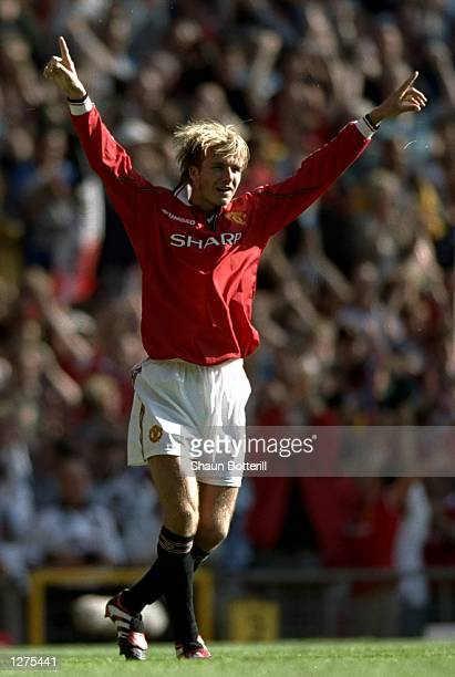 David Beckham of Manchester United celebrate his last minute equaliser during the FA Carling Premiership match against Leicester City at Old Trafford...