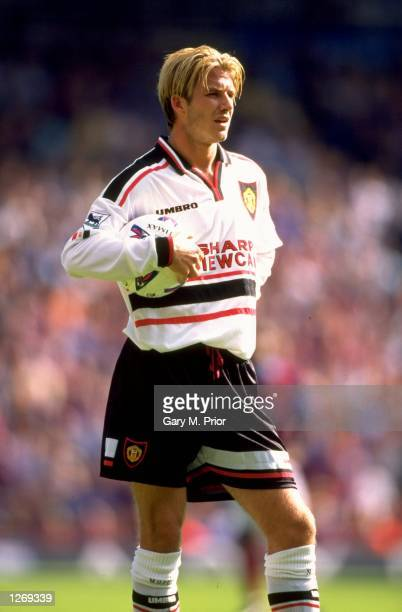 David Beckham of Manchester United in action against West Ham in the FA Carling Premiership game at Upton Park London England The game ended 00...