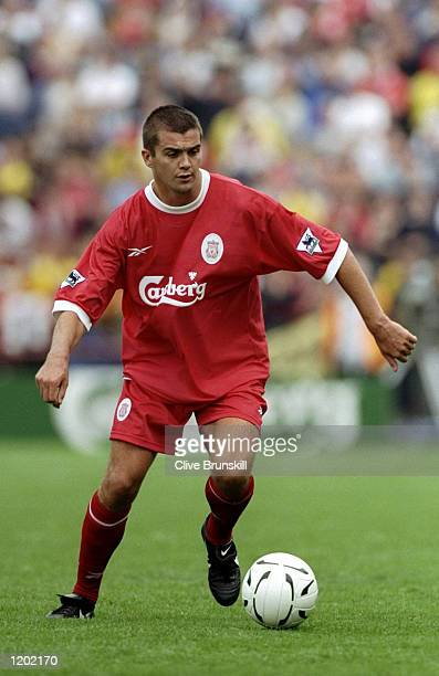 Dominic Matteo of Liverpool in action during the PreSeason Friendly against Leeds United played in Dublin Ireland The match finished in a 20 win for...