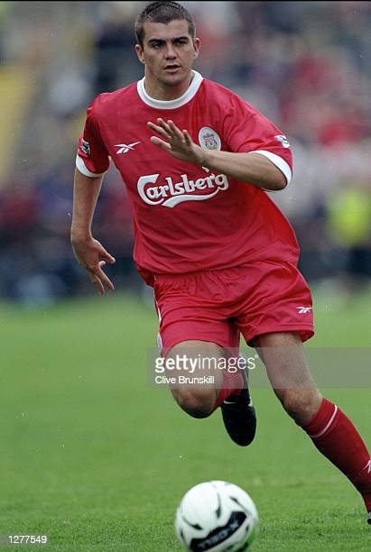 Dominic Matteo of Liverpool on the ball during the preseason friendly against Leeds United at Lansdowne Road in Dublin Ireland Mandatory Credit Clive...