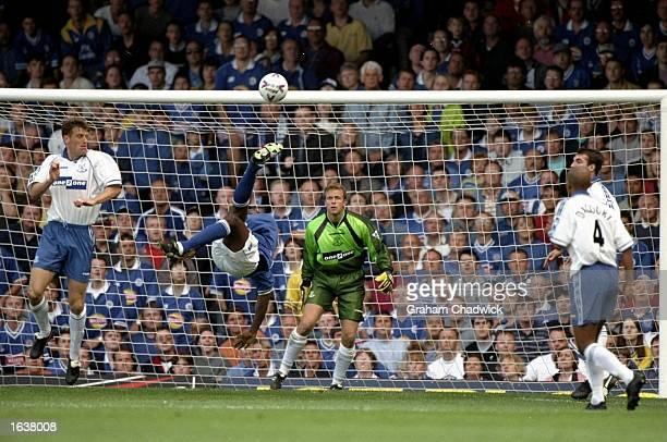 Emiile Heskey of Leicester attemps an overhead kick against Everton in the FA Carling Premiership match at Filbert St in Liverpool in England...
