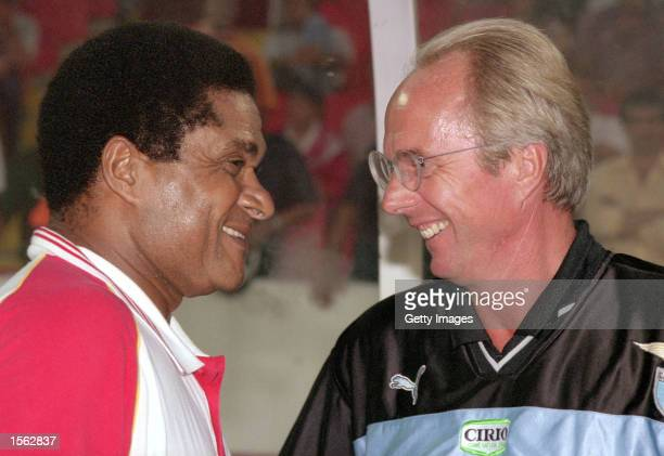 Eusebio meets Sven Goran Eriksson before a preseason friendly match between Benfica and Lazio at the Stadium of Light in Lisbon Portugal Picture by...