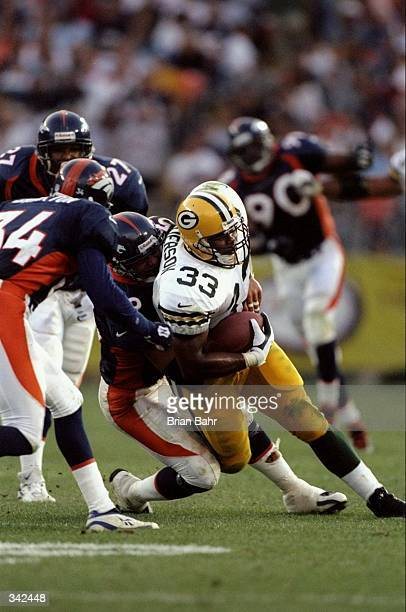Fullback William Henderson of the Green Bay Packers in action during the preseason game against the Denver Broncos at the Mile High Stadium in Denver...