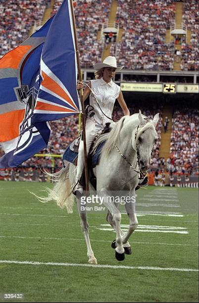 General view of the Denver Broncos mascot parading on the field prior to a preseason game between the Denver Broncos and the Green Bay Packers at the...