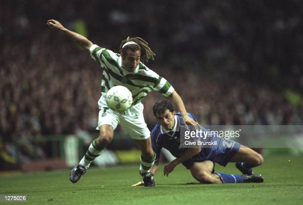 Henrik Larsson of Celtic in action during the Champions League Qualifier against Croatia Zagreb at Celtic Park in Glasgow Scotland Celtic won 10...
