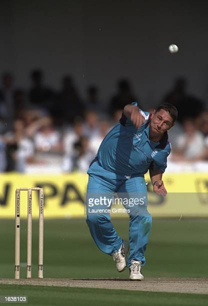 Ian Austin of England bowls during the Emirates Triangular Trophy final against Sri Lanka at Lord's in London England won the match by 36 runs...