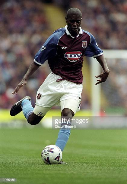 Ian Taylor of Aston Villa on the ball during the FA Carling Premiership match against Middlesbrough at Villa Park in Birmingham England Villa won 31...