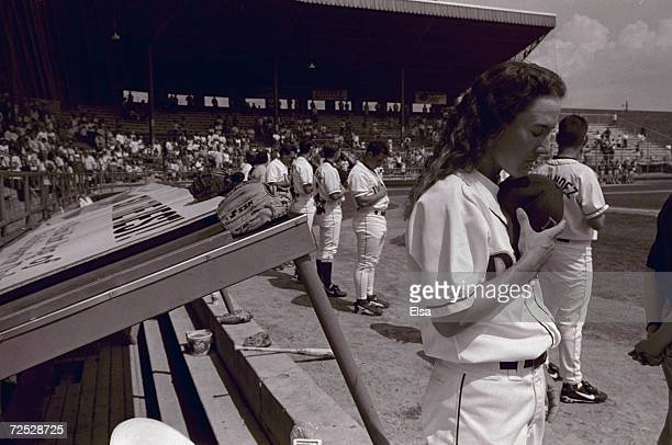 Ila Borders of the DuluthSuperior Dukes looks on during a game against the Red Hawks at Wade Stadium in Duluth Minnesota These images were part of a...