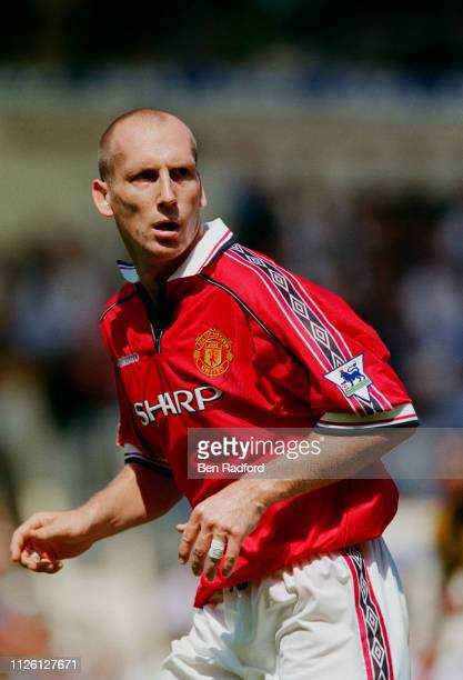 Jaap Stam of Manchester United in action during the FA Charity Shield match against Arsenal at Wembley Stadium in London Arsenal won 30