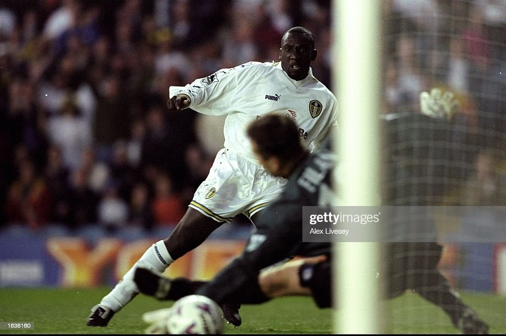 Jimmy Hasselbaink of Leeds United beats John Filan in the Blackburn Rovers goal to score the only goal in the FA Carling Premiership match at Elland Road in Leeds, England. \ Mandatory Credit: Alex Livesey /Allsport