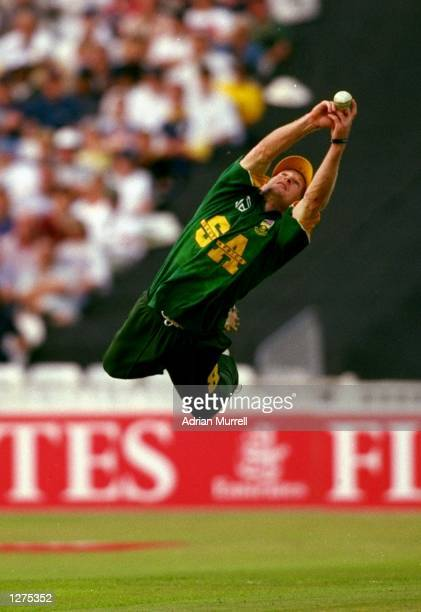 Jonty Rhodes of South Africa takes an unbelievable flying catch during the Emirates Triangular Trophy match against England at Edgbaston in...