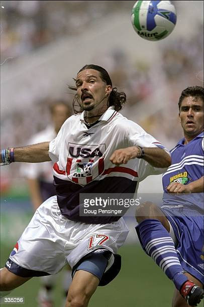 Marcelo Balboa of Team USA heads the ball during the MLS Allstar game against the World Team, part of the MLS Allstar Weekend at the Citrus Bowl in...