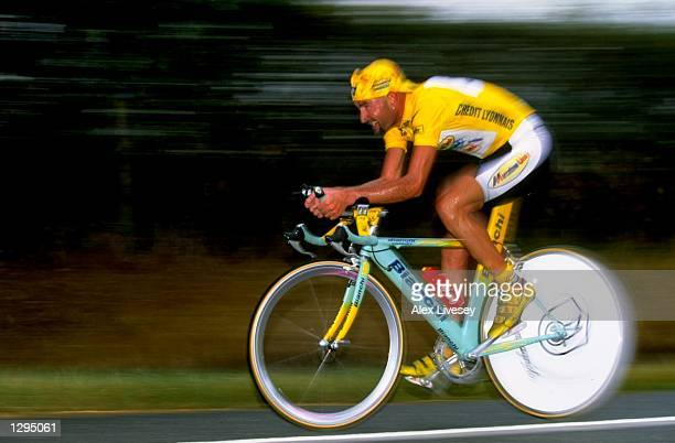 Marco Pantani of Italy and the Mercatone team during Stage 20 Time Trial of the 1998 Tour De France between Montceau and Le Creusot, France. \...