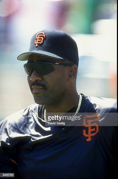 Outfielder Joe Carter of the San Francisco Giants looks on during a game against Philadelphia Phillies at the Veterans Stadium in Philadelphia...