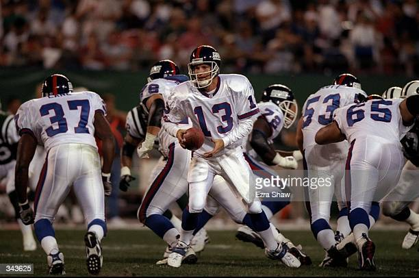 Quarterback Danny Kanell of the New York Giants in action during an NFL preseason game against the New York Jets at the Giant Stadium in East...