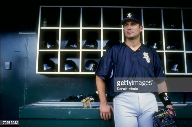 Robin Ventura of the Chicago White Sox stands in the dug-out as he looks at the field during the game against the California Angels at Edison Field...