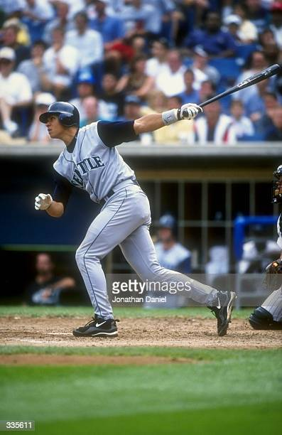 Short stop Alex Rodriguez of the Seattle Mariners swings at a pitch during a game against the Chicago White Sox at Comiskey Park in Chicago,...