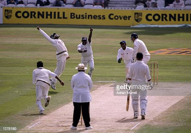 Steve James of England is bowled by Muttiah Muralitharan of Sri Lanka during the test against at the Oval in London, England. Sri Lanka won the game...