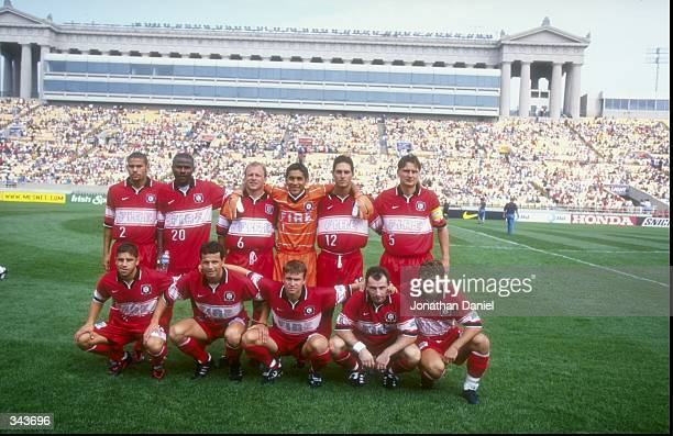 The Chicago Fire starting team poses for a portrait prior to a game against the Los Angeles Galaxy at the Soldier Field in Chicago Illinois The...