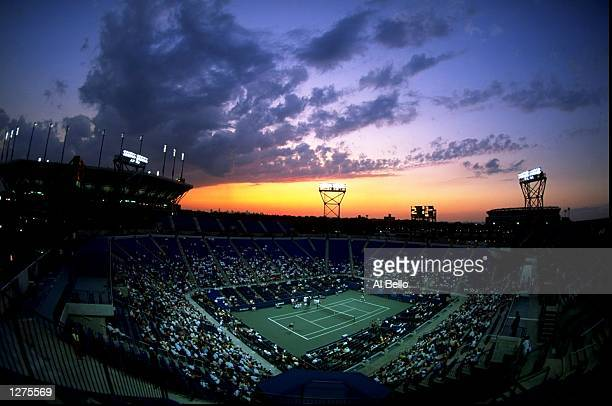 The sun sets on the Louis Armstrong Stadium during the US Open at Flushing Meadow in New York Mandatory Credit Al Bello /Allsport