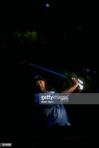 Tiger Woods in action during the Sprint International at Castle Pines Golf Club in Castle Rock Colorado Mandatory Credit Brian Bahr /Allsport