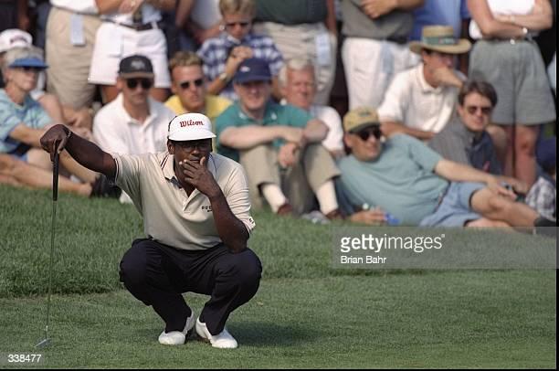 Vijay Singh in action during the Sprint International at Castle Pines Golf Club in Castle Rock Colorado Mandatory Credit Brian Bahr /Allsport