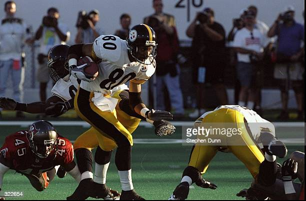 Wide Receiver Jahine Arnold of the Pittsburgh Steelers in action during the Pro Football Hall of Fame Game against the Tampa Bay Buccaneers at the...