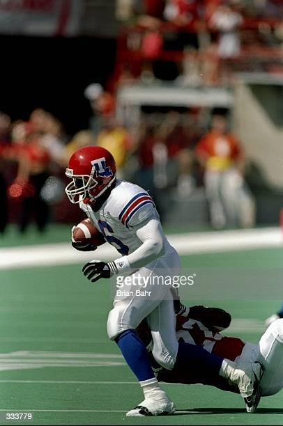Wide receiver Troy Edwards of the Louisiana Tech Bulldogs in action during the Eddie Robinson Classic game against the Nebraska Cornhuskers at Tom...