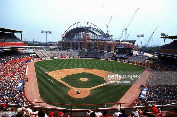 A general view of the County Stadium with Miller Park construction in the background during the game against the Los Angeles Dodgers and the the...