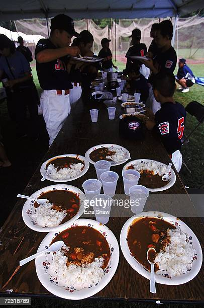 A view of the Japanese Meal of curry rice taken before Team Hirakata batting practice during the Little League World Series in Williamsport...