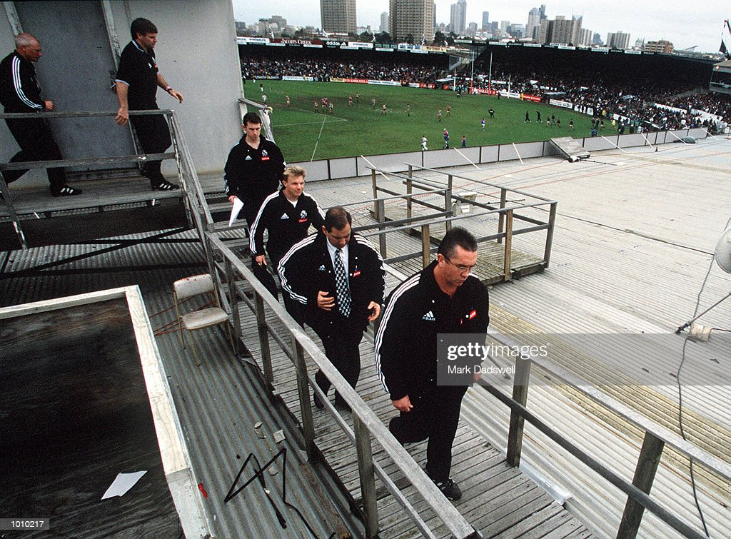 Collingwood coach Tony Shaw with his coaching staff leave the coaching box at three quarter time to adress his players for the last time.Victoria Park collingwood is no longer going to be used as an AFL ground, and Tony Shaw has resigned asCollingwood coach., during the AFL round 22 game Collingwood v Brisbane at Victoria Park Collingwood,Victoria,Australia.Brisbane defeated Collingwood. Mandatory Credit: Mark Dadswell/ALLSPORT