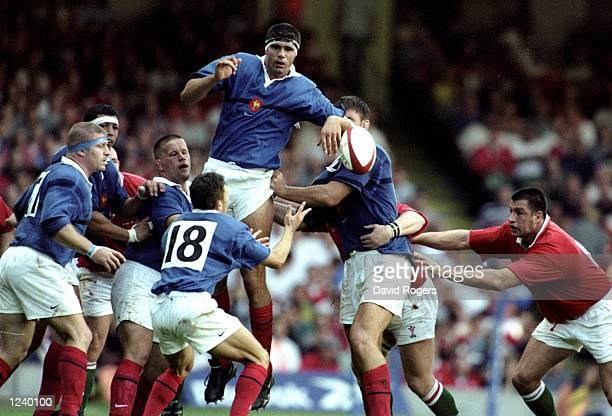 David Auradou of France wins the lineout ball during the Rugby World Cup warm up match between Wales and France played at the Millennium Stadium...