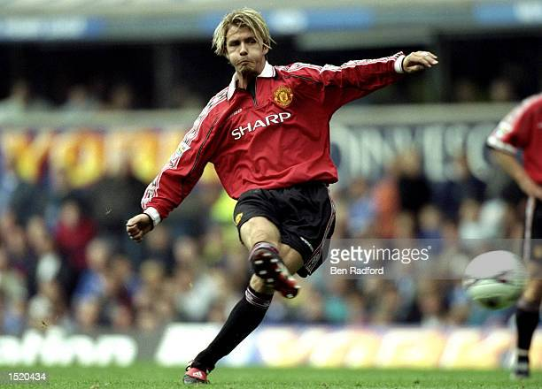 David Beckham of Manchester United in action during the FA Carling Premiership match against Everton played at Goodison Park in Liverpool England The...