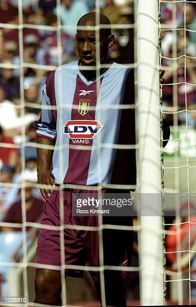 Dion Dublin of Aston Villa lurking at the far post against Middlesbrough during the FA Carling Premiership match at Villa Park in Birmingham England...