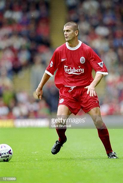 Dominic Matteo of Liverpool on the ball during the FA Carling Premiership match against Watford at Anfield in Liverpool England Mandatory Credit...