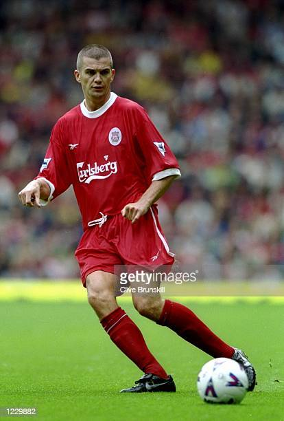 Dominic Matteo of Liverpool on the ball during the FA Carling Premiership match against Watford at Anfield in Liverpool, England. Watford won 1-0. \...