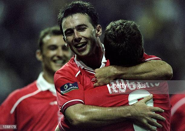 Dougie Freedman and Alan Rogers of Nottingham Forest celebrate a goal during the Nationwide Division One match against West Bromwich Albion played at...