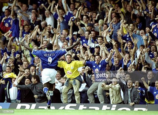 Emile Heskey of Leicester City runs towards the crowd to celebrate his goal during the FA Carling Premiership match against Chelsea played at Filbert...