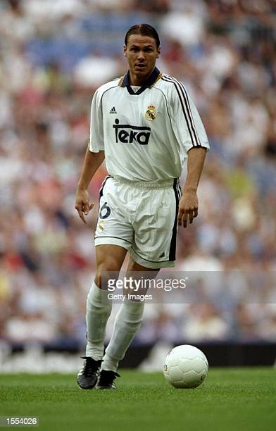 Fernando Redondo of Real Madrid on the ball during the Spanish Primera Liga match against Numancia at the Santiago Bernabeu Stadium in Madrid Spain...