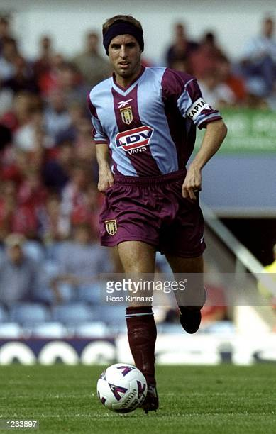 Gareth Southgate of Aston Villa in action against Middlesbrough during the FA Carling Premiership match at Villa Park in Birmingham England Villa won...