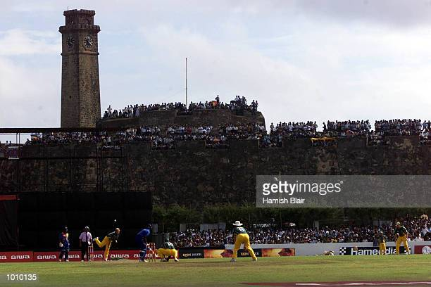 General view of Galle International Stadium with 16th century dutch fort in background Shane Warne bowling during the one day international between...