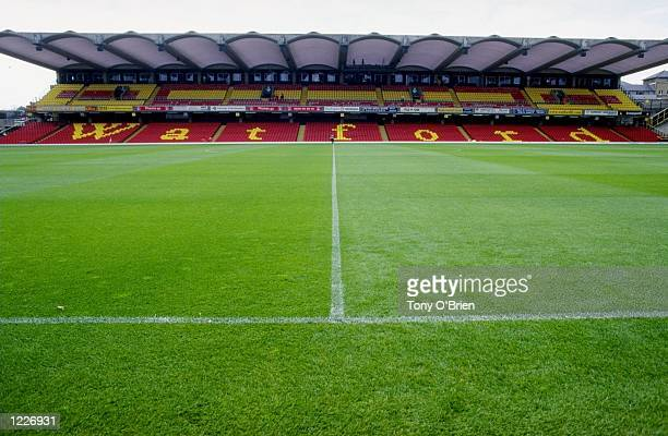 General View of Vicarage Road the home of Watford Football Club before the FA Carling Premiership match between Watford and Wimbledon played in...