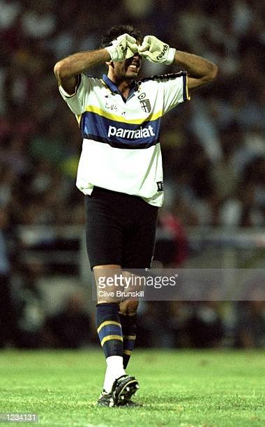 Gianluigi Buffon of Parma in action during the Champions'' League Third Round Second Leg match between Parma and Rangers at Ennio Tardini Stadium...
