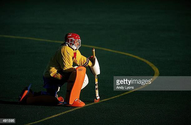 Goalie Hepp Plesch of Chile kneels during the Women's Field Hockey game against the USA in Winnipeg Manitoba Canada The USA defeated Chile 20...