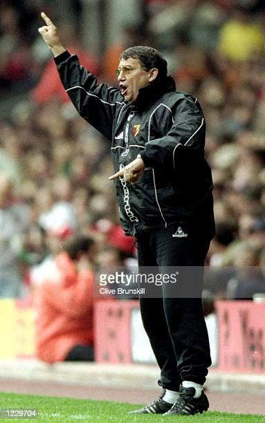 Graham Taylor the manager of Watford in action during the FA Carling Premiership match against Liverpool played at Anfield in Liverpool England The...